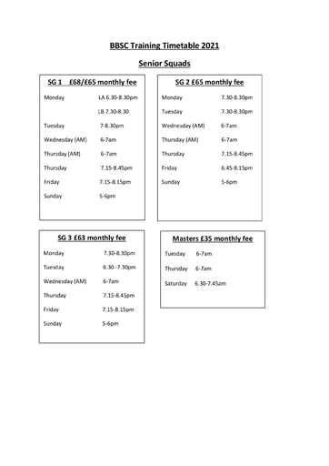 Training Times From September 2021